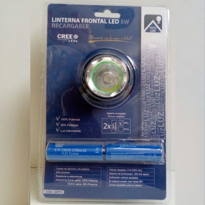 Linterna frontal LED recargable